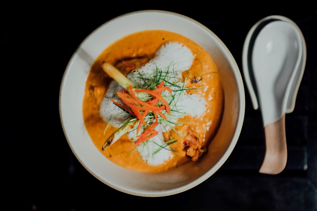 Curry on ceramic bowl